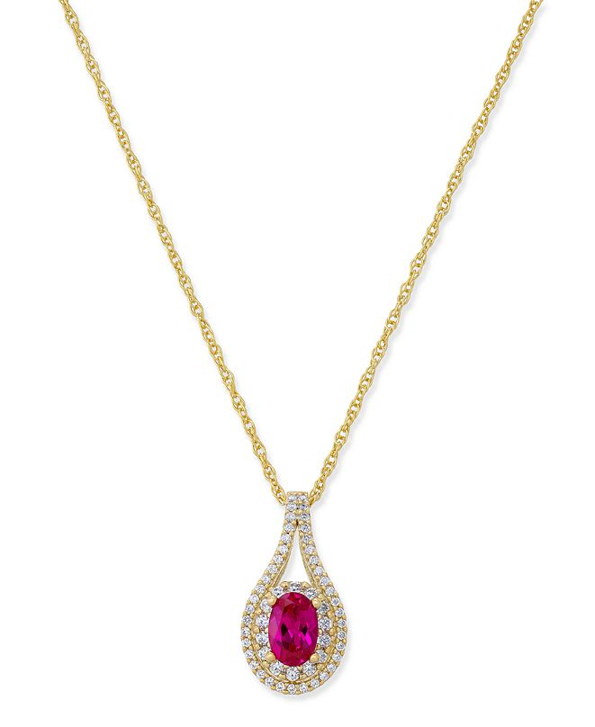 Macy's Certified Ruby (1/2 ct. t.w.) & Diamond (1/4 ct. t.w.) Pendant Necklace in 14k Gold (Also Emerald & Sapphire )