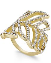 INC International Concepts Gold-Tone Pavé Leaf Ring, Created for Macy's