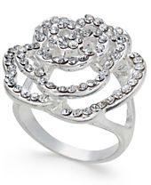 INC International Concepts Silver-Tone Pavé Rose Ring, Created for Macy's