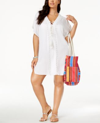 Raviya Plus Size Lace-Up Cover-Up Tunic