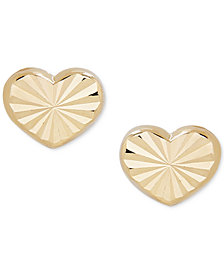 Children's Textured Heart Stud Earrings in 14k Gold