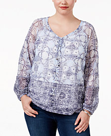 I.N.C. Plus Size Lace-Up Peasant Top, Created for Macy's