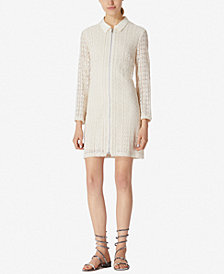 Avec Les Filles Collared Lace Mini Shirtdress