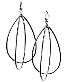 "3"" Silver-Tone Teardrop Hoop Earrings"