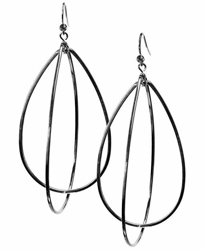 GUESS - Earrings, Silver-Tone Teardrop Hoop