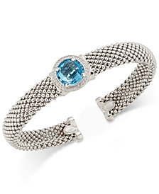 Swiss Blue Topaz (4-1/4 ct. t.w.) and Diamond (1/5 ct. t.w.) Popcorn Mesh Bangle Bracelet in Sterling Silver