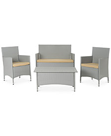 Chrystie Wicker Outdoor 4-Pc. Seating Set (1 Loveseat, 2 Chairs & 1 Coffee Table), Quick Ship