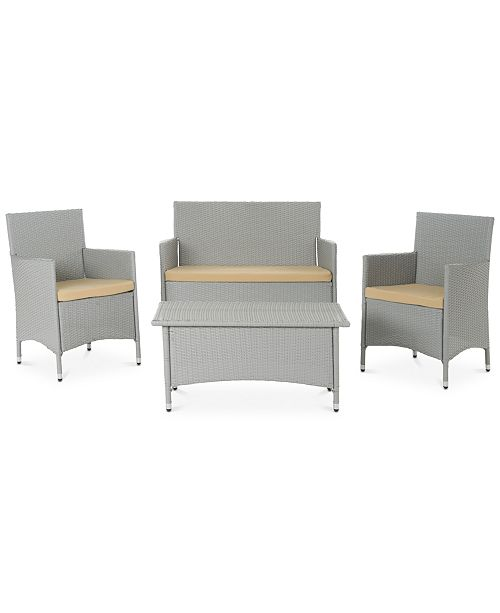 Safavieh Chrystie Wicker Outdoor 4-Pc. Seating Set (1 Loveseat, 2 Chairs & 1 Coffee Table), Quick Ship