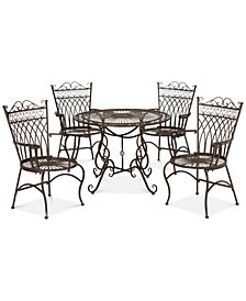 Donovan Outdoor 5-Pc. Dining Set (Dining Table & 4 Chairs), Quick Ship