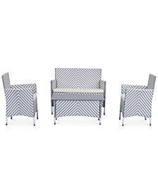 Ganton Outdoor 4-Pc. Chevron Seating Set (1 Loveseat, 2 Chairs & 1 Coffee Table), Quick Ship
