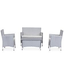 Ganton Outdoor 4-Pc. Chevron Seating Set (1 Loveseat, 2 Chairs & 1 Coffee Table), Quick Ship