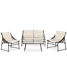 Desman Outdoor 4-Pc. Seating Set (1 Loveseat, 2 Chairs & 1 Coffee Table), Quick Ship