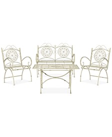 Delfina Outdoor 4-Pc. Seating Set (1 Loveseat, 2 Chairs & 1 Coffee Table)