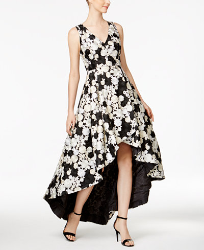 Calvin Klein Floral-Embroidered High-Low Gown