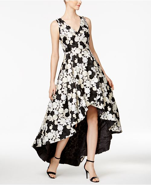 cc8d3e9b12bd Calvin Klein Floral-Embroidered High-Low Gown   Reviews - Dresses ...