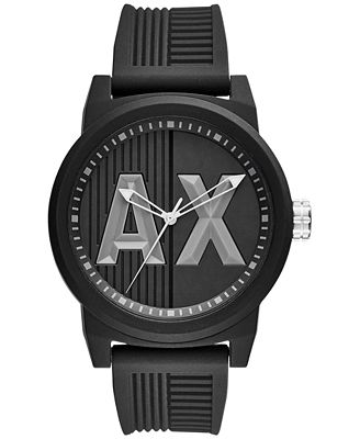 A|X Armani Exchange Men's Black Textured Silicone Strap Watch 46mm AX1451