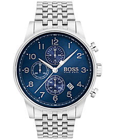 BOSS Hugo Boss Men's Chronograph Navigator Stainless Steel Bracelet Watch 44mm 1513498