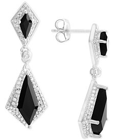 Onyx (6 x 2-1/2mm, 13 x 5mm) and Diamond (1/8 ct. t.w.) Drop Earrings in Sterling Silver