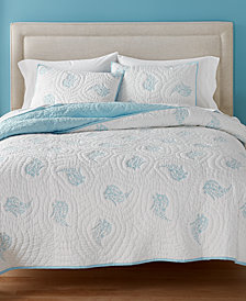 CLOSEOUT! Martha Stewart Collection Pleasant Fields Reversible Quilt and Sham Collection, Created for Macy's