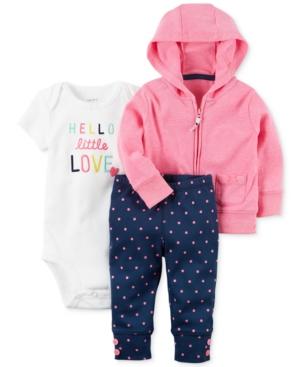 Carters 3Pc Hoodie Bodysuit  Jogger Pants Set Baby Girls (024 months)