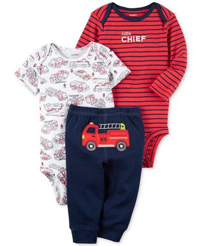 Carter's 3-Pc. Cotton Firetruck Bodysuits & Pants Set, Baby Boys