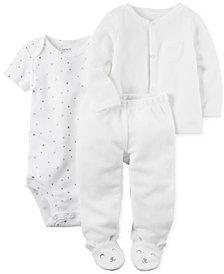 Carter's 3-Pc. Cardigan, Star-Print Bodysuit & Footed Pants Set, Baby Boys & Girls