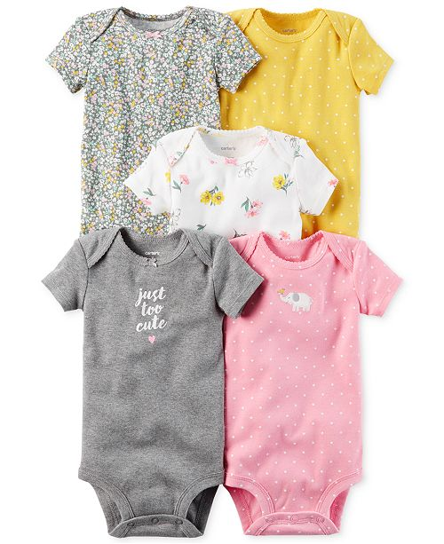 116880e97727 Carter's 5-Pk. Cotton Just Too Cute Bodysuits, Baby Girls & Reviews ...