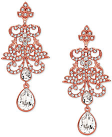 Nina Rose Gold-Tone Crystal Chandelier Earrings