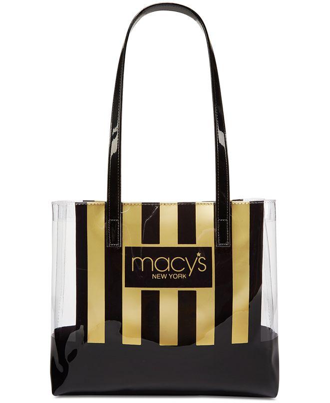 Dani Accessories Macy's Stripe & Clear Tote, Created for Macy's