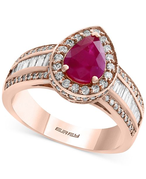 EFFY Collection Amoré by EFFY® Certified Ruby (1 ct. t.w.) and Diamond (9/10 ct. t.w.) Ring in 14k Rose Gold