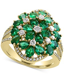 Brasilica by EFFY® Emerald (4-1/3 ct. t.w.) and Diamond (1/2 ct. t.w.) Cluster Ring in 14k Gold