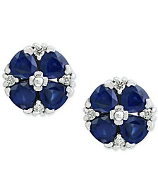 Royalé Blue by EFFY® Sapphire (2-5/8 ct. t.w.) and Diamond (1/8 ct. t.w.) Stud Earrings in 14k White Gold
