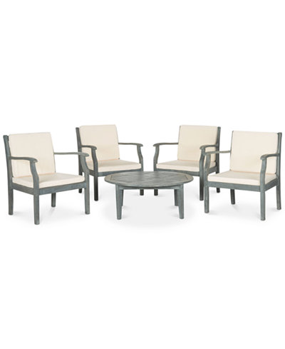 Galey Outdoor 5-Pc. Seating Set (4 Chairs & 1 Coffee Table), Quick Ship
