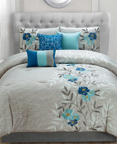 Krissa Embroidered 7 Piece Queen Comforter Set Bed In A