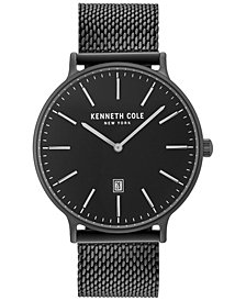 Kenneth Cole Men's Black Stainless Steel Mesh Bracelet Watch 42mm KC15057012