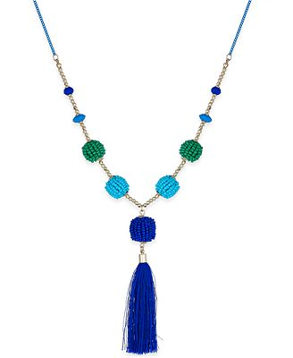 INC International Concepts Gold-Tone Beaded Ball & Tassel Lariat Necklace, Created for Macy's