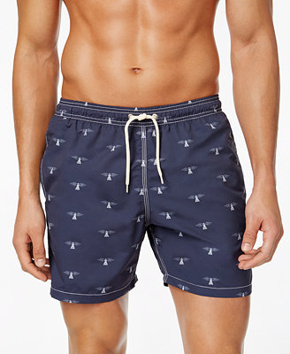 Men's Beacon Slim Fit Graphic Print Swim Trunks by Barbour