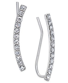 INC Silver-Tone Pavé Crystal Ear Climbers, Created for Macy's