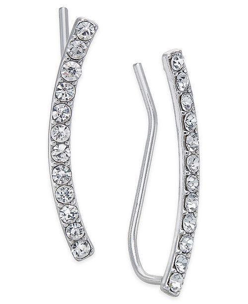 INC International Concepts INC Silver-Tone Pavé Crystal Ear Climbers, Created for Macy's