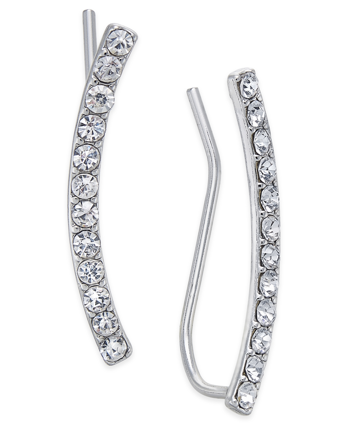 Inc International Concepts Silver-Tone Pave Crystal Ear Climbers, Created for Macy's