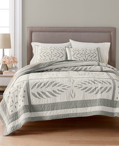 CLOSEOUT! Martha Stewart Collection Fern Medallion 100% Cotton Reversible Full/Queen Quilt, Created for Macy's