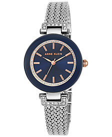 Anne Klein Women's Swarovski Crystal Accent Stainless Steel Mesh Bracelet Watch 30mm AK-1907NVRT