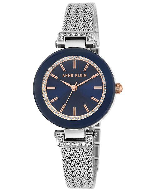 Anne Klein Women's Swarovski Crystal Accent Stainless Steel Mesh Bracelet Watch 30mm AK-1907NVRT