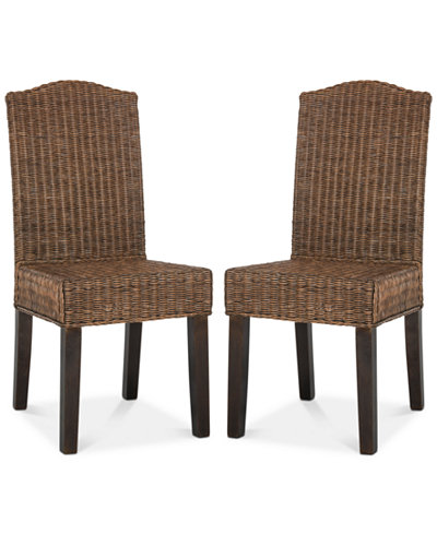 Alicea Set of 2 Wicker Dining Chairs, Quick Ship