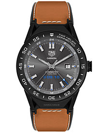 TAG Heuer Modular Connected 2.0 Men's Swiss Light Brown Leather Strap Smart Watch 45mm