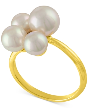 Majorica Gold-Tone Stainless Steel Imitation Pearl Cluster