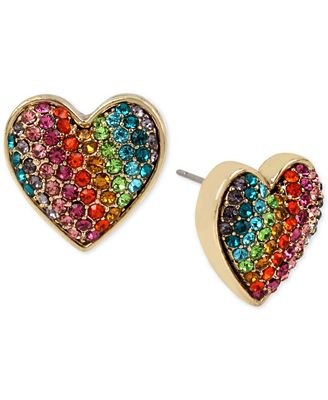 Betsey Johnson Gold-Tone Pavé Rainbow Heart Stud Earrings
