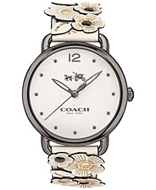 Women's Delancey Flower Appliqué White Leather Strap Watch 36mm 14502746