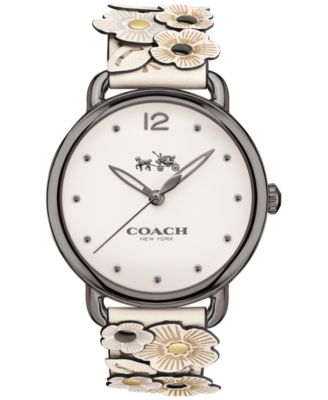 coach watch outlet wmwn  COACH Women's Delancey Flower Appliqu茅 White Leather Strap Watch 36mm  14502746