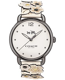 COACH Women's Delancey Flower Appliqué White Leather Strap Watch 36mm 14502746